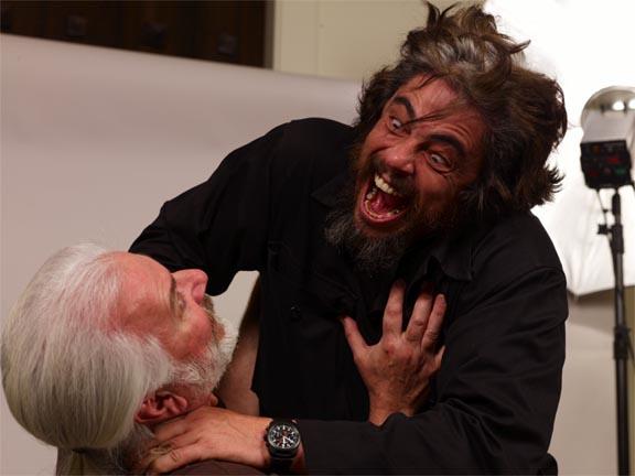 makeup-master-rick-baker-getting-choked-by-benicio-del-toro