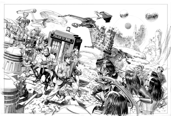 star_trek_vs_Dr Who_by_mike mayhew_Pen and Ink