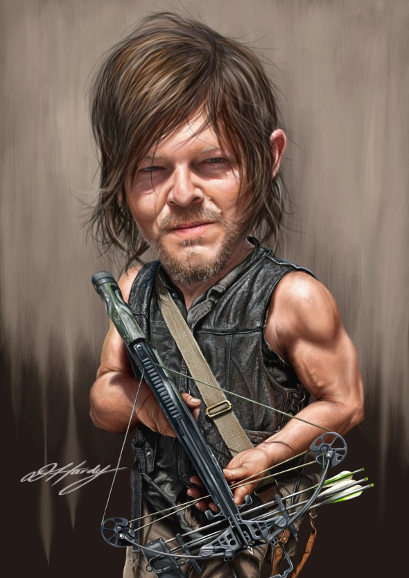 Daryl Walking Dead caricature